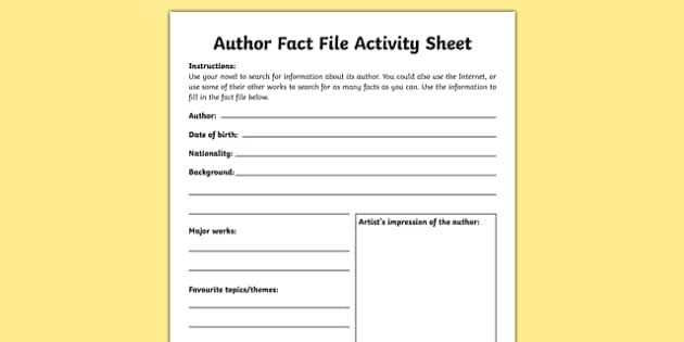 Author Fact File Activity Sheet-Irish, worksheet