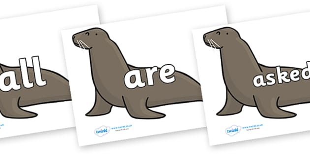 Tricky Words on Sealions - Tricky words, DfES Letters and Sounds, Letters and sounds, display, words