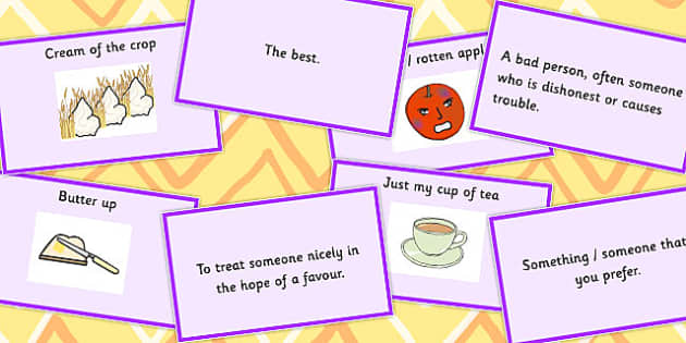 Food Idioms Matching Cards Set 2 - food, idioms, matching, cards