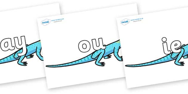 Phase 5 Phonemes on Lizards - Phonemes, phoneme, Phase 5, Phase five, Foundation, Literacy, Letters and Sounds, DfES, display