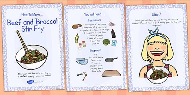 Beef and Broccoli Stir Fry Recipe Cards - australia, recipe, card