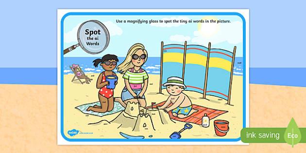 Phase 3 ai Words Beach Scene Magnifying Glass Activity Sheet, worksheet