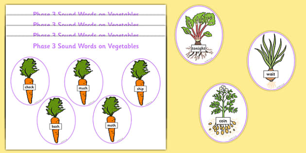Phase 3 Sound Word Cards on Vegetables Word Cards