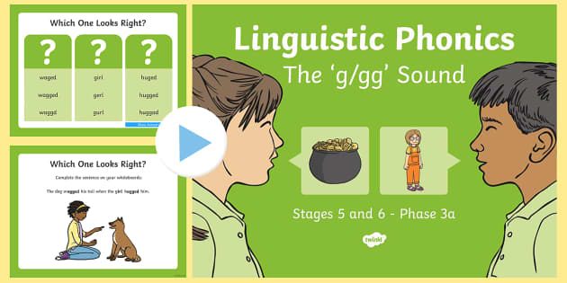 I Linguistic Phonics Stage 5 and 6 Phase 3a, 'g, gg' Sound PowerPoint  - Linguistic Phonics, Phase 3a, Northern Ireland, 'g', 'gg' sound, sound search, word sort, inve