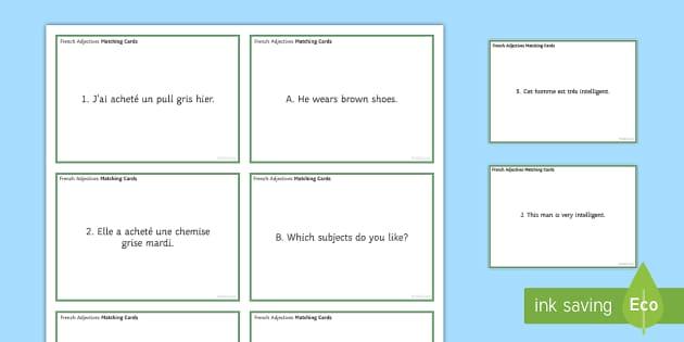 Adjectives Matching Cards - translation, grammar, adjective, comparative, superlative, demonstrative, indefinite, possessive, in - translation, grammar, adjective, comparative, superlative, demonstrative, indefinite, possessive, in