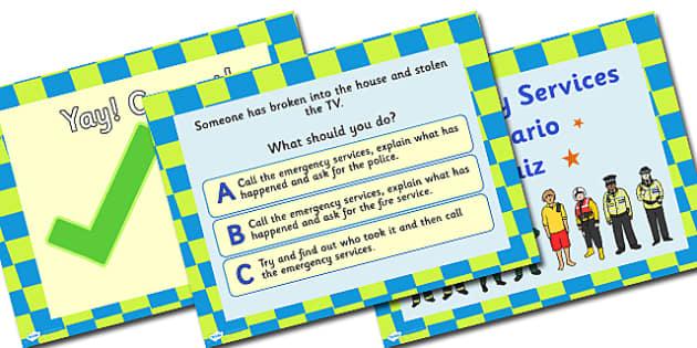 Emergency Services Scenario Quiz PowerPoint - emergency services quiz, emergency services powerpoint, emergency services, people who help us, emergencies