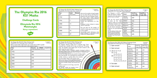 The Olympics Rio 2016 ks1 Cards Polish Translation - KS1, Maths, Olympics, Graphs, olympic torch, targets, archery, halving, combinations, rugby sevens,,rugby union,six nations, 6 nations,adjacent consonants,adjacent consonants,olypics,olimpics,olymi