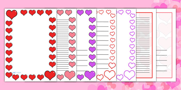 Valentine's Day Page Borders (A4) - valentines, cupid, border