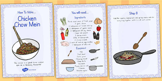 Chicken Chow Mein Recipe Cards - australia, recipe, card, chicken