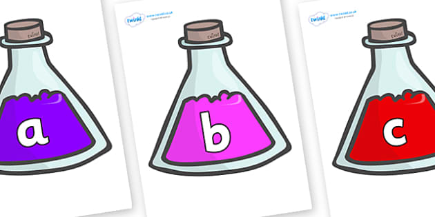 Phase 2 Phonemes on Potions - Phonemes, phoneme, Phase 2, Phase two, Foundation, Literacy, Letters and Sounds, DfES, display