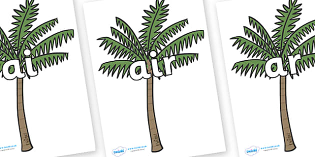 Phase 3 Phonemes on Palm Trees - Phonemes, phoneme, Phase 3, Phase three, Foundation, Literacy, Letters and Sounds, DfES, display