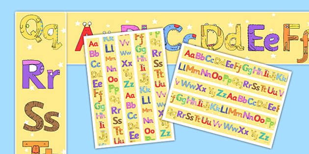 Monster Alphabet Display Borders - monster alphabet, monster, alphabet, display borders, display, borders