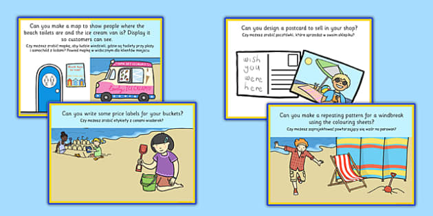 Seaside Souvenir Shop Role Play Challenge Cards Polish Translation - polish, seaside, souvenir shop, role play, challenge cards