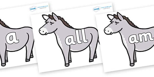 Foundation Stage 2 Keywords on Donkeys - FS2, CLL, keywords, Communication language and literacy,  Display, Key words, high frequency words, foundation stage literacy, DfES Letters and Sounds, Letters and Sounds, spelling