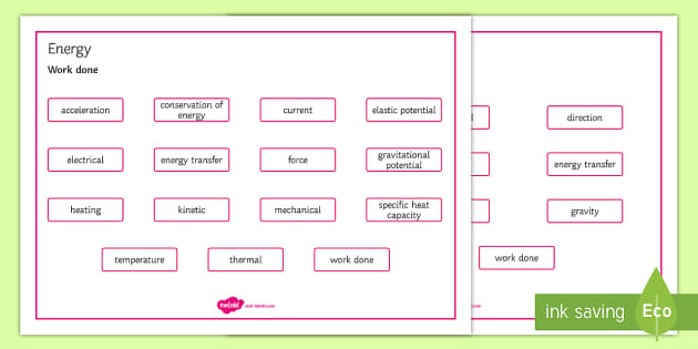 OCR Gateway Combined Science Energy Word Mat - Word Mat, gcse, keywords, energy, energy transfer, energy store, work done, power, efficiency