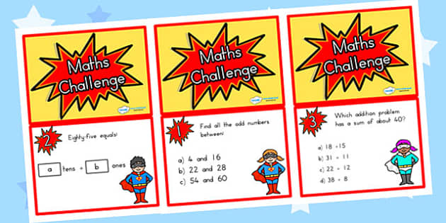 Year 3 Maths Challenge Cards - year 3, maths, challenge, cards