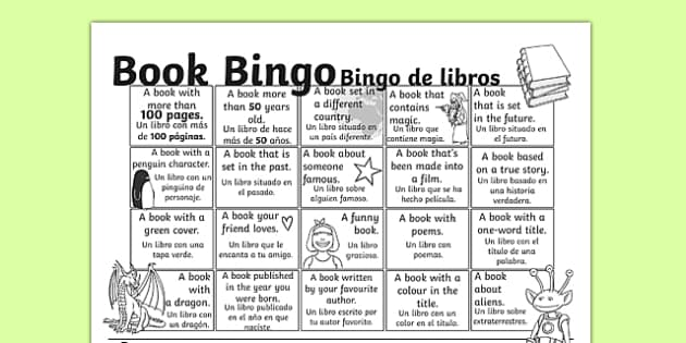 Book Bingo Activity Sheet Spanish Translation - spanish, reading, literacy, game, library, ks2, interaction, stories, worksheet