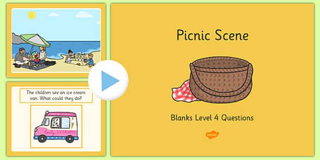 Picnic Scene Blanks Level 4 Questions PowerPoint - receptive language, expressive language, verbal reasoning, language delay, language disorder, comprehension, autism