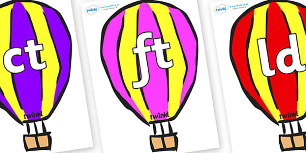 Final Letter Blends on Hot Air Balloons (Multicolour) - Final Letters, final letter, letter blend, letter blends, consonant, consonants, digraph, trigraph, literacy, alphabet, letters, foundation stage literacy