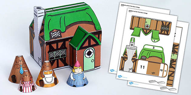 Goldilocks and the Three Bears Cottage Paper Model - traditional, tales
