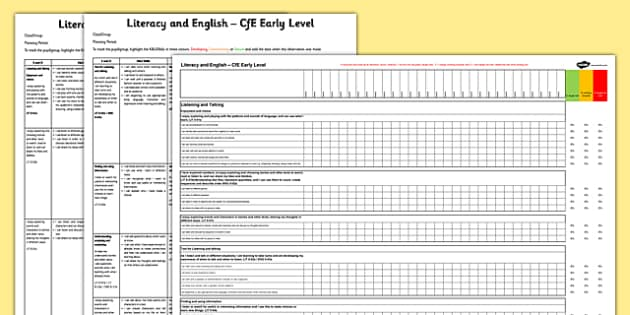 Literacy and English CfE Early Level Tracking Assessment Sheet and Spreadsheet Pack - CfE, planning, tracking, literacy, I can, Early