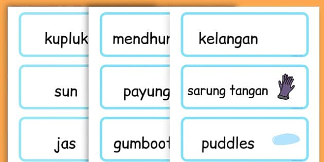 Winter Word Cards - seasons, weather, key words, visual aids  - Javanese