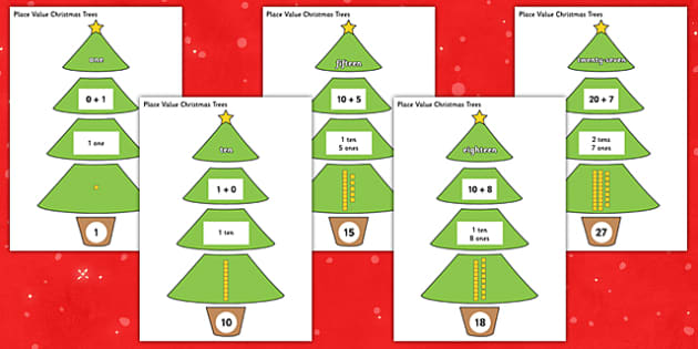 0-100 Place Value Christmas Trees - 0-100, place value, christmas tree, christmas, tree