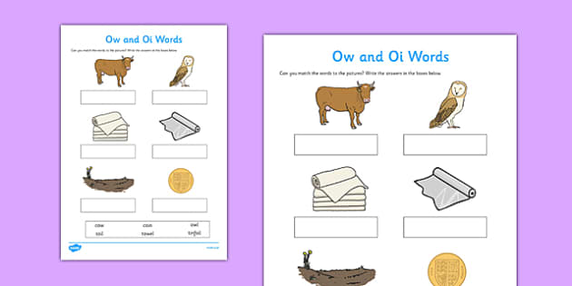 ow' and 'oi' Sounds Matching Activity Worksheet - 'ow', 'oi', sounds, matching, activity, worksheet, match, letters and sounds