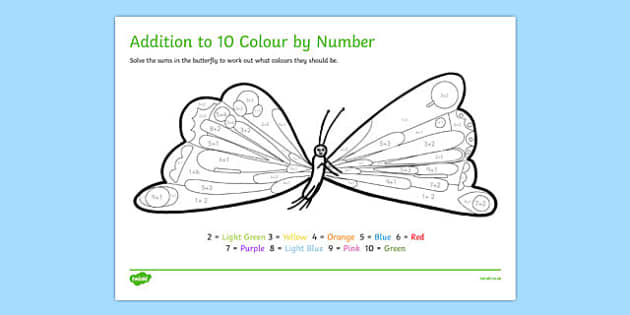 Butterfly Colour by Number Addition to 10 to Support Teaching on The Very Hungry Caterpillar