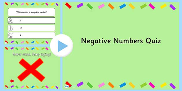 Negative Numbers PowerPoint Quiz - negative numbers, powerpoint