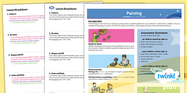 PlanIt - Computing Year 1 - Painting Planning Overview CfE - planit, planning, overview, cfe