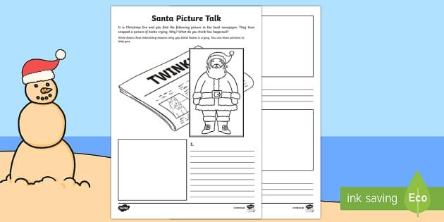 Santa Picture Talk Activity Sheet