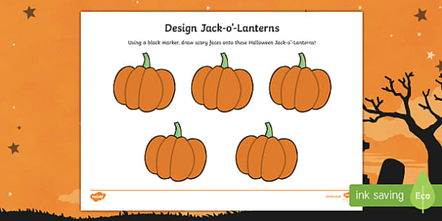 Design Halloween Jack-o'-Lanterns Activity Sheet
