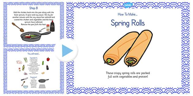 Crispy Spring Rolls Recipe PowerPoint - spring roll, recipe