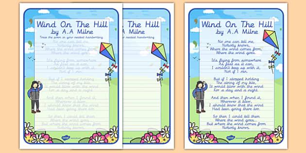 Wind on the Hill KS2 Handwriting Poems - wind on the hill, ks2, handwriting, poems