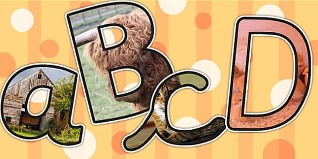 On the Farm Themed A4 Photo Display Lettering - farm, letters