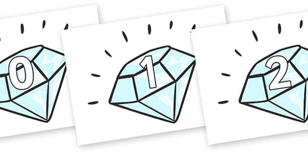 Numbers 0-50 on Diamonds - 0-50, foundation stage numeracy, Number recognition, Number flashcards, counting, number frieze, Display numbers, number posters