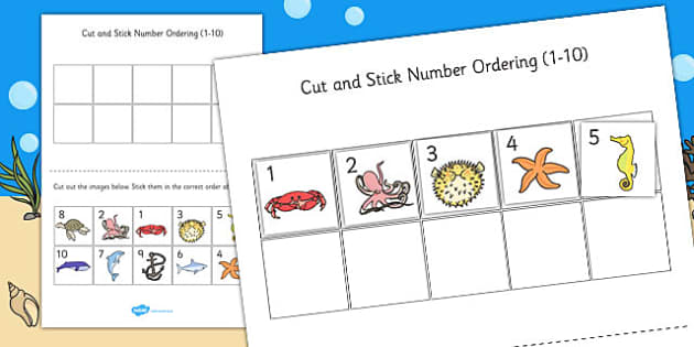 Under the Sea Themed Cut and Stick Number Ordering Sheets 1-10
