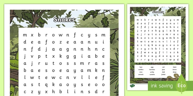 Australian Animals (Snakes) Years 3-6 Word Search - Australian Animals, reptiles, cloze passages, activity sheets, word search, research, fast finisher,