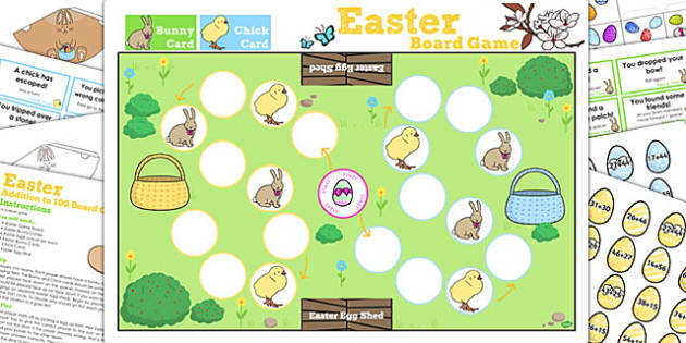 Addition Up to 100 Easter Bunny Hop Board Game - activities