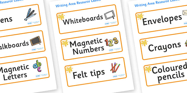 Amber Themed Editable Writing Area Resource Labels - Themed writing resource labels, literacy area labels, writing area resources, Label template, Resource Label, Name Labels, Editable Labels, Drawer Labels, KS1 Labels, Foundation Labels, Foundation