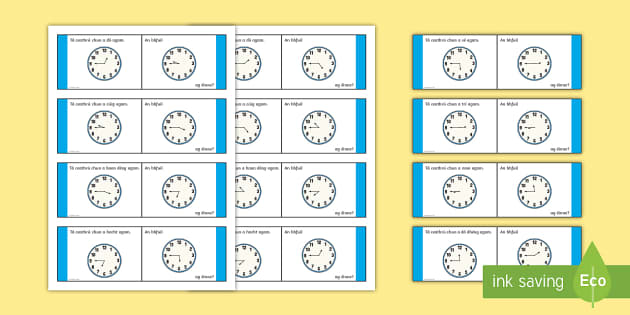 Time, Quarter to Loop Cards - Requests - ROI, Irish, Gaeilge, Time, am, an t-am, clock, an chlog, clog, quarter to, ceathrú chun,