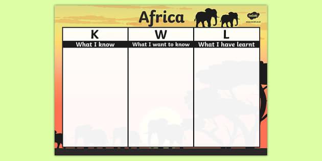 Africa Topic KWL Grid - africa, topic, kwl, grid, know, learn
