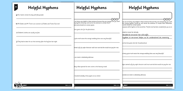 Helpful Hyphens Differentiated Activity Sheet Pack - GPS, avoiding ambiguity, punctuation, worksheet