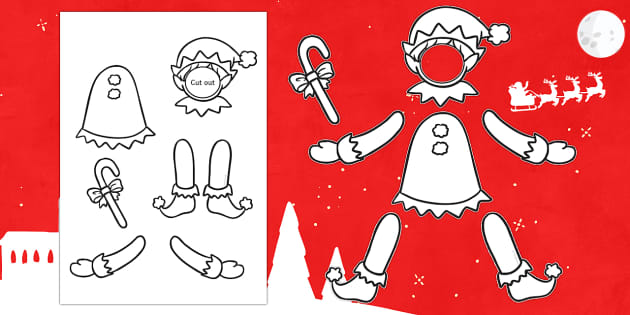 Make Yourself an Elf Colour and Cut Out Template - elf, elves, puppet, santa's little helper, christmas,