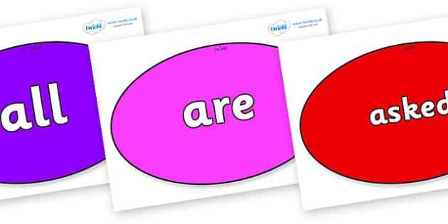 Tricky Words on Ovals - Tricky words, DfES Letters and Sounds, Letters and sounds, display, words