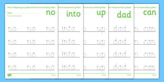 Phase 2 High Frequency Words Letter Formation Activity Sheet - phase 2, high frequency, letter formation, activity, sheet, worksheet