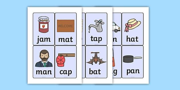 CVC Word Cards A - CVC, CVC words, visual aids, flash cards, A