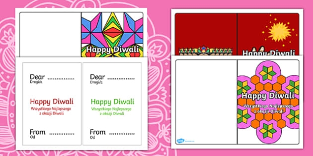Diwali Card Templates English/Polish