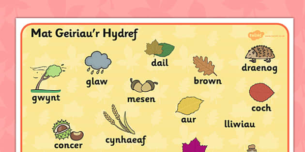 Autumn Word Mat Welsh Translation - seasons, visual aid, wales